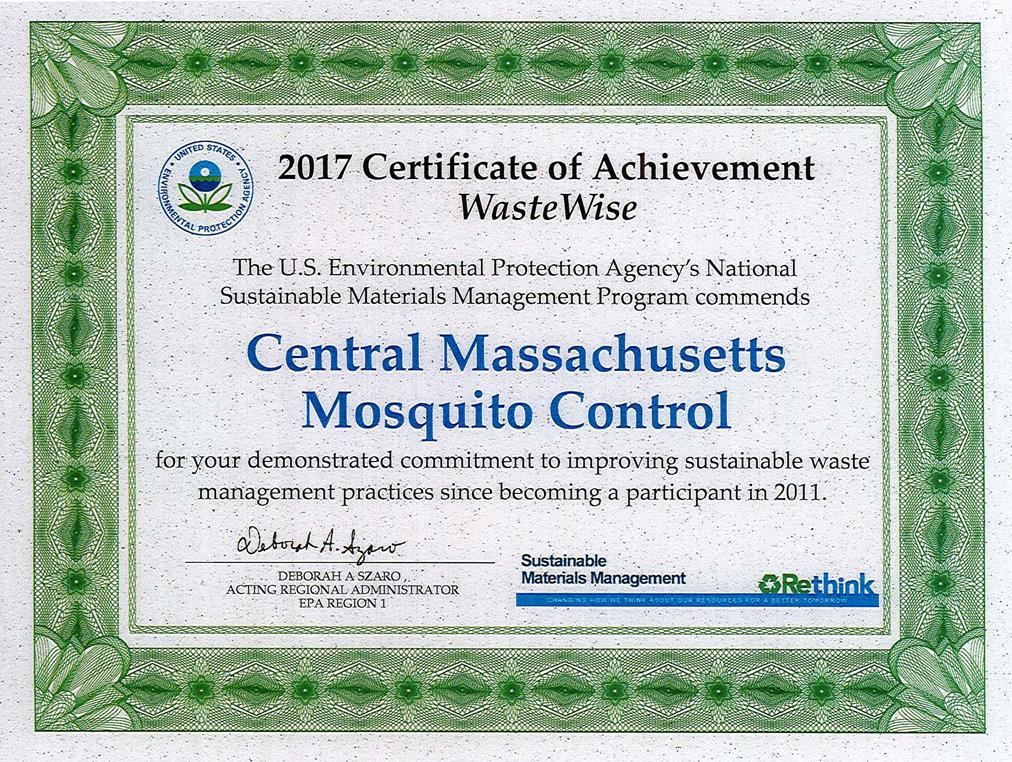 WasteWise 2017 Certificate of Achievement